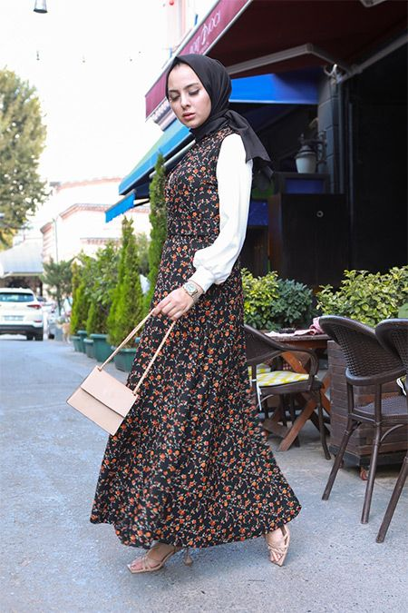 Elizamoda Siyah Cicekli Ikili Jile Bluz Tesettur Takim 2020 Moda Stilleri Musluman Elbisesi Mankenler