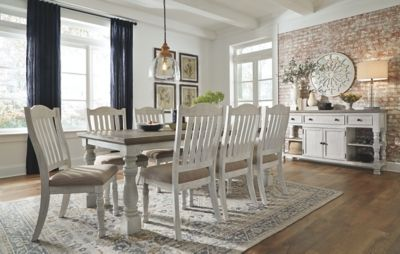 Havalance Dining Room Table White Gray In 2020 White Dining