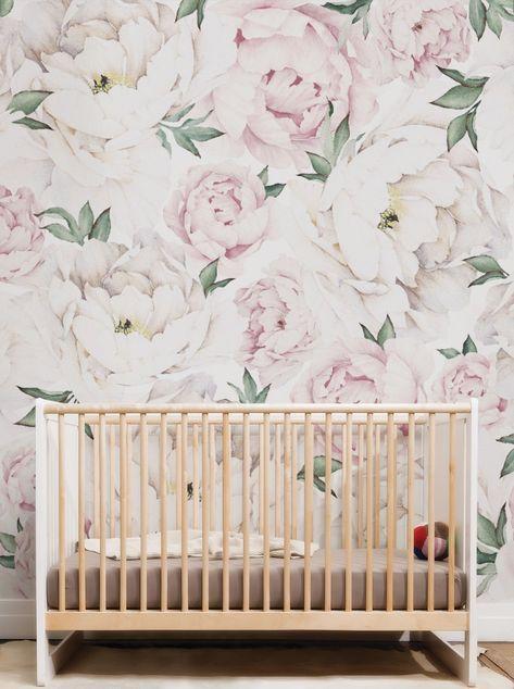Peony Flower Mural Wall Art Wallpaper Peel And Stick Simple Shapes Mural Mural De Flores Arte De Pared