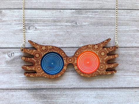 Harry Potter Luna Lovegood glasses necklace - Ravenclaw, Hogwarts, magical, wizard, original, strange, cute, kawaii, geek, lasercut, wood