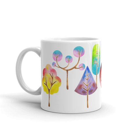 Trees Mug Watercolor Mug Coffee And Tea Mug Nature Mug