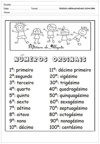 Atividades Com Numeros Ordinais Para Alfabetizacao Numeros