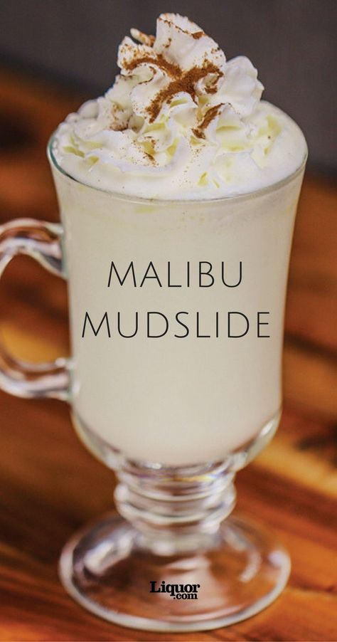 Mudslide Looking for something decadent and delicious? Indulge in this white hot cocktail drink spiked with coconut rum.Looking for something decadent and delicious? Indulge in this white hot cocktail drink spiked with coconut rum. Malibu Rum Drinks, Coconut Rum Drinks, Liquor Drinks, Dessert Drinks, Cocktail Drinks, Malibu Coconut, Rum Mixed Drinks, Rum Liquor, Mixed Drinks With Malibu