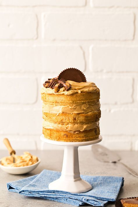 If you love peanut butter, this is the birthday cake for you! Mini Peanut Butter Layer Cake is a 3 layer peanut butter cake with homemade peanut butter frosting. #foodporn #food #Foooood #Food #cake #food #sweets #chocolate #desserts #•cнσcσℓαтε•🍫 #desert #yummy #chocolate #F4F #food