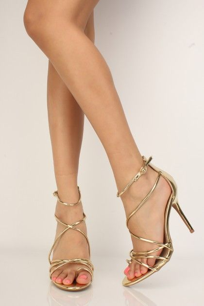 f37ad2edccd Sexy Gold Metallic Strappy Open Toe High Heels  AD
