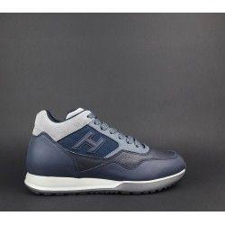 Hogan Sneakers H321 Uomo Pelle Tessuto Grigio Blu Prezzo 290,00