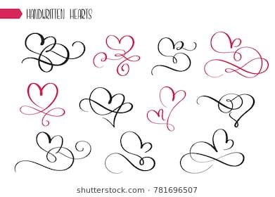 Set of hand drawn sketchy calligraphy hearts. Vector grunge style flourish collection. Illustration of the hand drawn hearts on the white background.