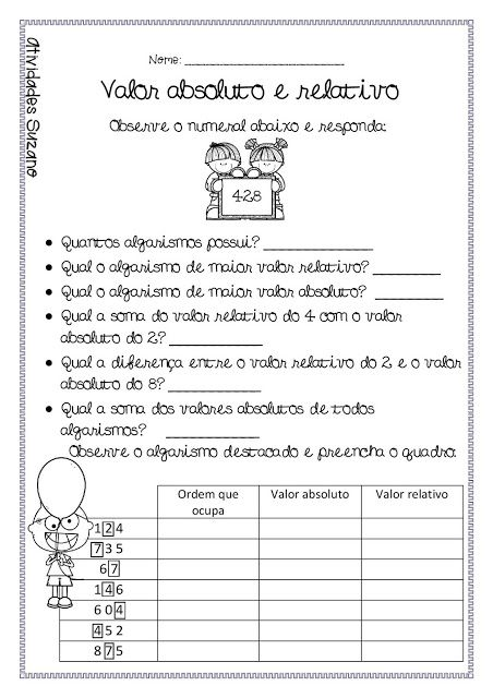 Valor Relativo E Absoluto Valor Absoluto Atividades Pedagogicas