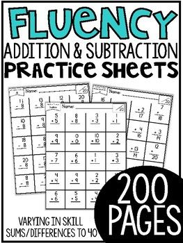 First Grade Math Fluency Sheets Tell Me More Please Thanks So Much For Viewing My Fluency Addition And Sub Math Fluency First Grade Math Math Skills Practice
