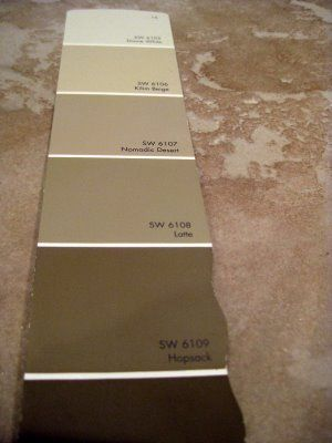 Sherwin Williams - Latte, Hopsack, Nomadic Desert, I really like these colors!