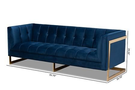 Wholesale Interiors Tsf5507navygoldsf 1 003 39 In 2020 Gold Sofa Blue Velvet Sofa Blue Velvet Fabric