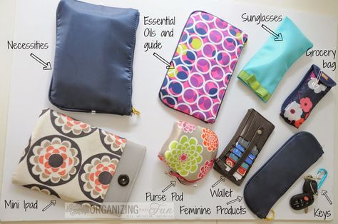 Looking to declutter your purse? Organizing Made Fun blogger, Becky, gives tips on keeping your purse or diaper bag organized. She also features the Purse Pod! Read more here. #PursePod