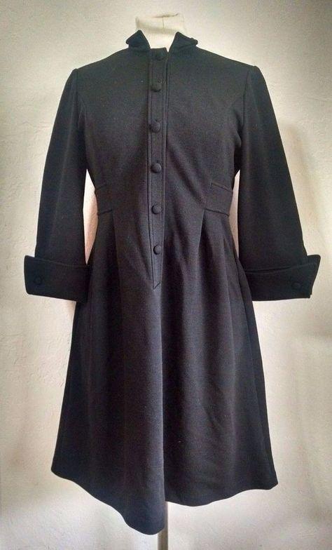Diane VonFurstenberg Black Dress 6 Wool Buttons 3/4 French Cuff Sleeves #DianeVonFurstenberg #ShirtDress #WeartoWork
