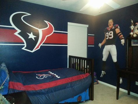 My son wanted a Texans room for his birthday so blue paint tape and Fatheads saved the day!
