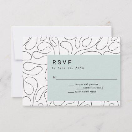 Modern Contemporary Black Swirls Rectangle Green Rsvp Card