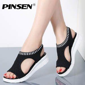 4dd7e0ae2dd7 PINSEN Sandalias de mujer 2018 nuevos zapatos de mujer de verano ...