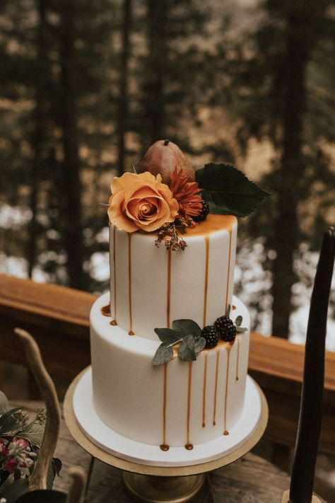 fall mountain elopement wedding wedding cakes cakes elegant cakes rustic cakes simple cakes unique cakes with flowers Wedding Cake Rustic, Elegant Wedding Cakes, Wedding Cake Designs, Orange Wedding Cakes, Wedding Cake Flowers, Wedding Colors, Rustic Cake, Elegant Cakes, Purple Wedding