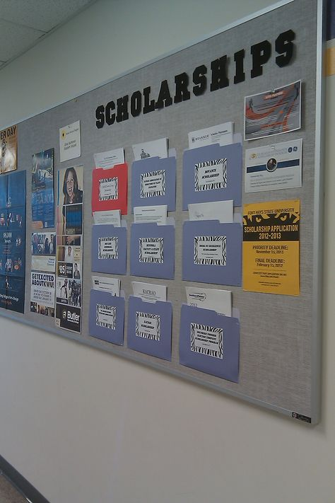 Scholarship/college board - make pockets out of folders and place on the bulletin board so people can grab applications as they need.