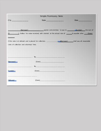 Promissory Note Form  My Board    Promissory Note