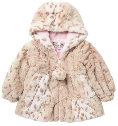 Widgeon Girls Faux Fur Hooded Pompom Flounce Coat