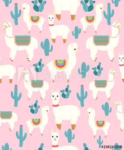 Vector Illustration Of Seamless Pattern With Cute Cartoon Llama Alpaca With Cactus And Design Elements On Pink Bac Cartoon Llama Cartoon Styles Pink Background