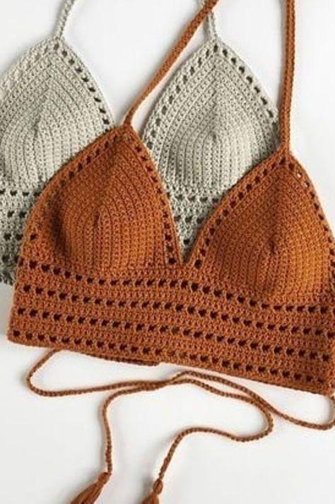 Free Best Simply Cute Crochet Beachwear Swimsuit Top Pattern Ideas New 2020 - Page 15 of 30 - crochetsample. Crochet Halter Tops, Motif Bikini Crochet, Crochet Bra, Mode Crochet, Crochet Summer Tops, Crochet Clothes, Crochet Crop Top, Crochet Top Outfit, Crochet Outfits