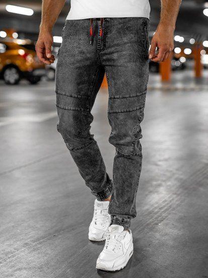 Czarne Spodnie Jeansowe Joggery Meskie Denley Hy684 Pants Fashion Jean
