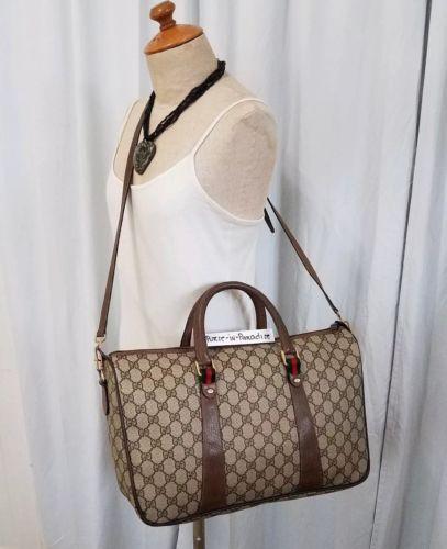 7b264f307 Vintage Gucci Crossbody Bag Purse GG monogram PVC Big Large 80s Vinyl