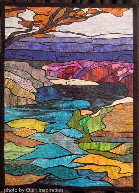 Tributary by Phyllis Cullen (Hawaii).  West Coast Wonders quilt exhibit, 2013 Houston IQF, photo by Quilt Inspiration