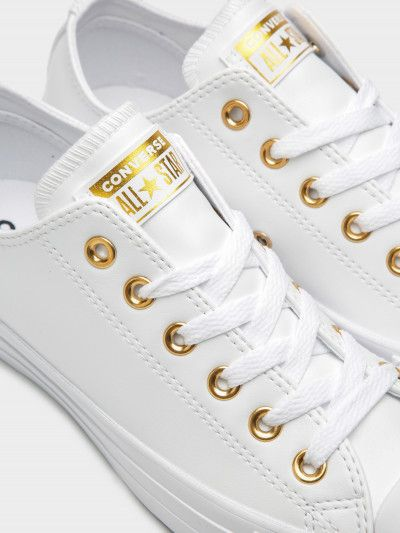 Empuje hacia abajo autor Besugo  Size 8 / 39 Converse Womens Chuck Taylor All Star Craft SL Low Sneakers in  White and Gold | White and gold shoes, White and gold sneakers, Leather  sneakers women