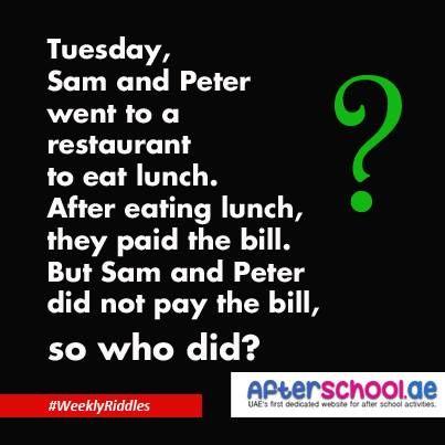 Tuesday, Sam and Peter #Riddles | School kids activities, Jokes ...