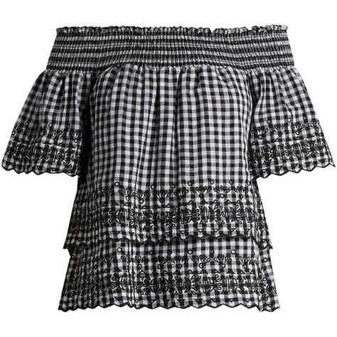 Gingham off-the-shoulder cotton top Bliss and Mischief... ($435) ❤ liked on Polyvore featuring tops, off the shoulder tops, off shoulder tops, gingham off the shoulder top and gingham top
