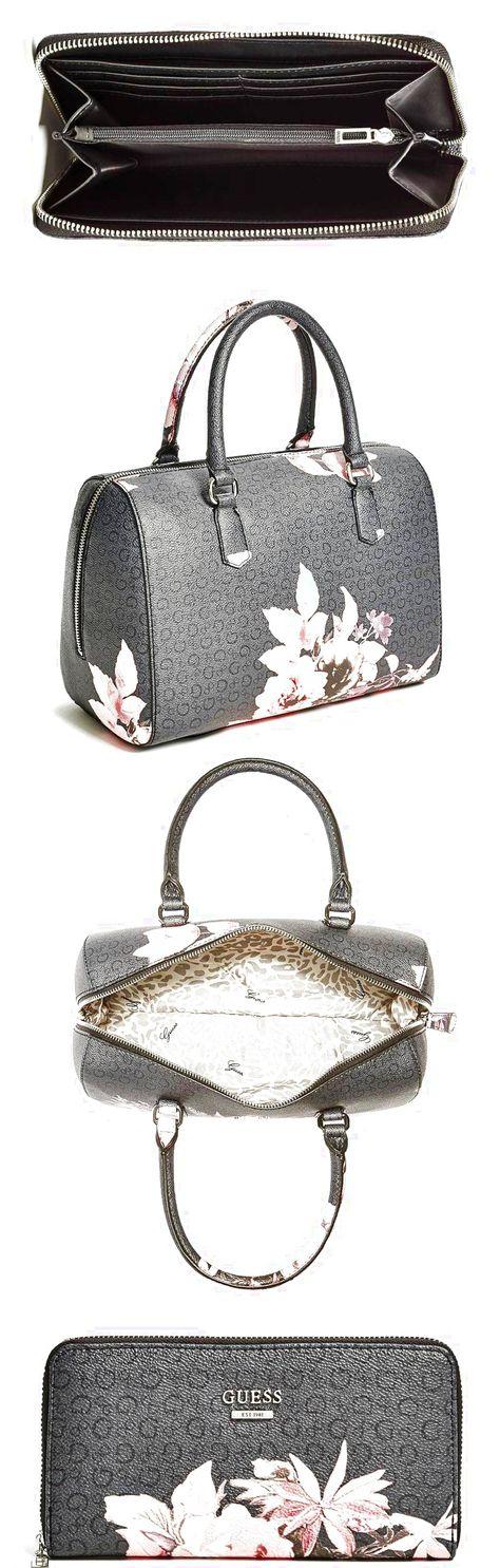 f0c4d03c61 GUESS Ashville Rose Floral Box Satchel Handbag Tote Bag Purse   Wallet Set   129.99
