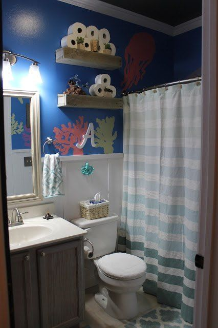 Diy Under The Sea Themed Kid S Bathroom Kids Bathroom Paint Sea Bathroom Bathroom Kids