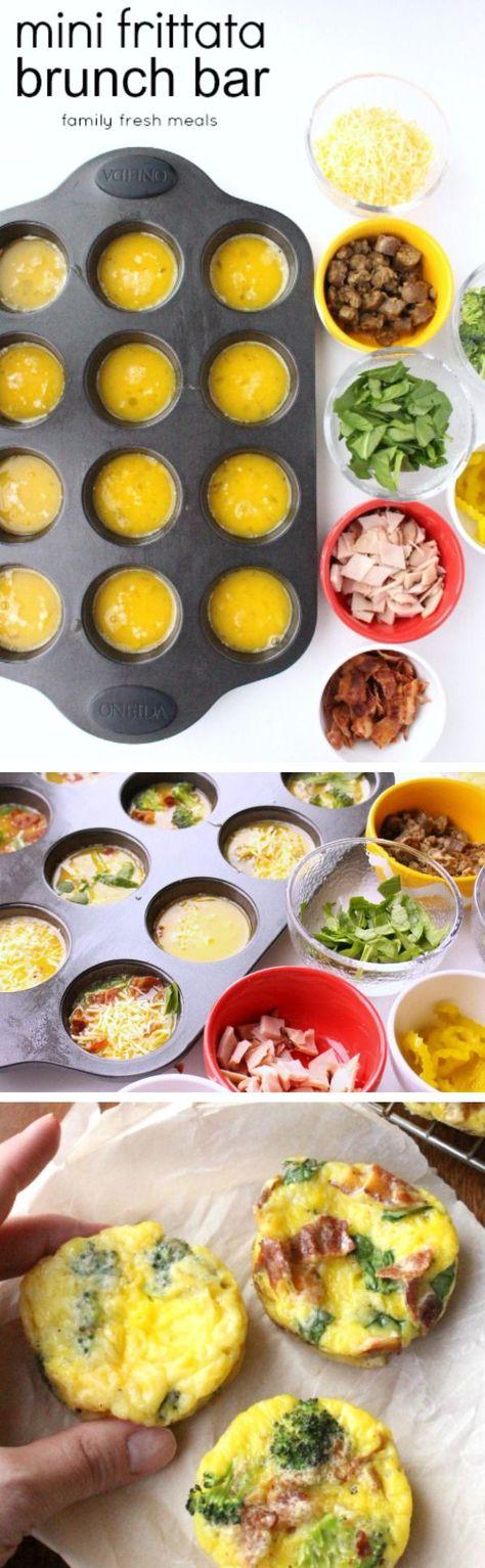 Mini frittata brunch bar - familyfreshmeals.com - perfect for breakfast, brunch or a FUN dinner! --