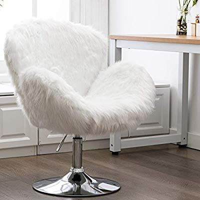 Amazon Com Faux Fur Vanity Chair Adjustable Soft Plush Shaggy