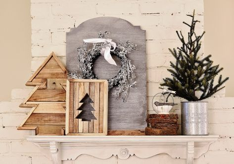 Christmas mantel in the kitchen - woodsy trees #12days72ideas