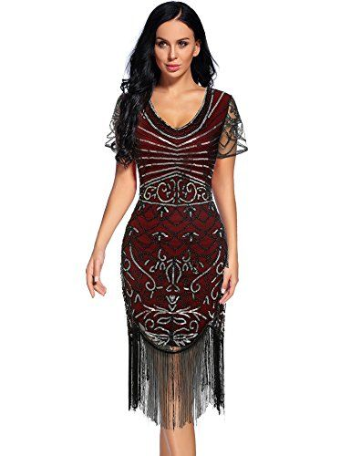 d81bad9262 Best Promo for Women's Vintage 1920s Sequin Floral Midi Gatsby ...