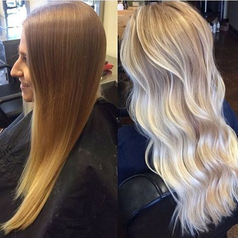 Icy Blonde Balayage | Transformation by @saramay_24 with Olaplex to keep the hai...