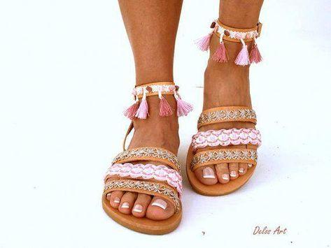 Leather Boho Sandals CYMONE pink summer | Etsy #women'sfashionover40summernecklaces