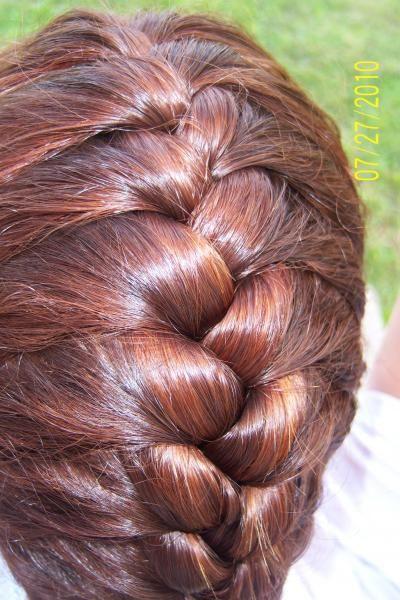 Braided henna hair