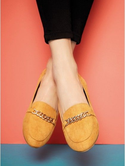 where to buy best choice wide range Womens Mustard Chain Detail Loafer Shoes | Peacocks ...
