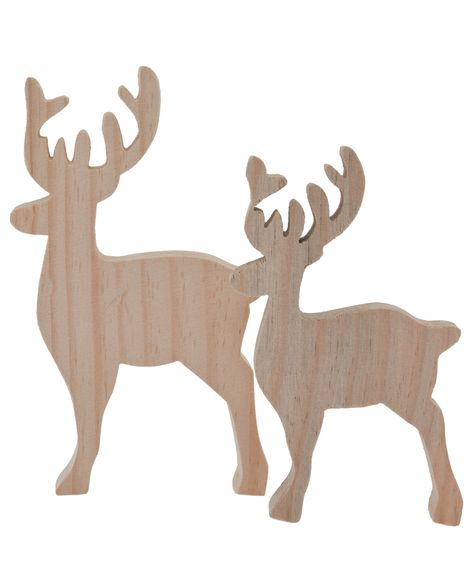 Set of 2 Wooden Reindeer Ornaments, Gisela Graham. Shop more Christmas decorations from the Gisela Graham collection online at Liberty.co.uk