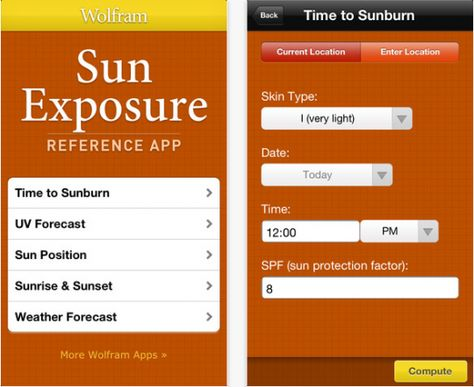 Get the new Sun Exposure app from Wolfram Alpha before your next vacation and never worry about getting sunburnt again.