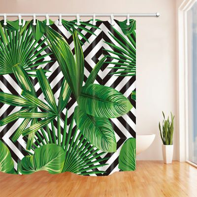 Brightly Colored Shower Curtain With Vivid Images Of Your Favorite Scene Shower Curtain Weight 0 600kg Di Tropical Shower Curtains Leaf Curtains Palm Leaves