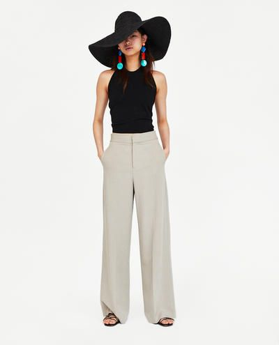 Pantalon Ancho Lino Ultima Semana Mujer Zara Mexico Ropa Femenina Estilo Femenino Ropa
