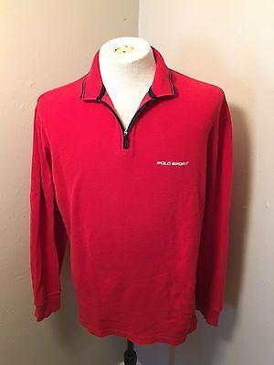 8e58ea7b1e4 Vintage Ralph Lauren Polo Sport Half Zip Sweater Spell out Logo Sz M ...