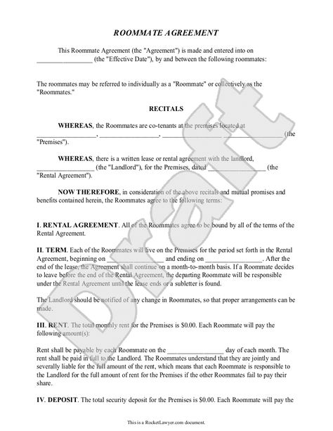 Template For Roommate Rules - Invitation Templates - roommate - mutual agreement contract