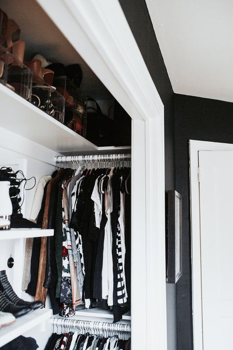 Before & After: Small Reach-In Closet Renovation Meg Biram – shallow reach-in. Small Closet Space, Reach In Closet, Tiny Closet, Small Closet Design, Small Closet Redo, Shoe Closet, Small Closet Makeovers, Maximize Closet Space, Small Master Closet