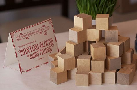 """Another pinner said: """"baby shower activity ... painting blocks! Great way to remember your guests by having a personalized block painted by them."""" I would think it would also be awesome to have an older sibling help paint the blocks to welcome a younger sibling or adopted baby!"""